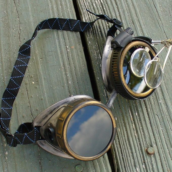 Silver Copper Toned Goggles: Black Lenes w/ Eye loupe
