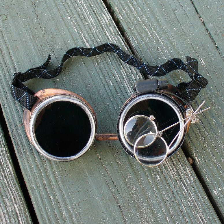 Black & Brass Goggles Dark Lenses w & Eye Loupe