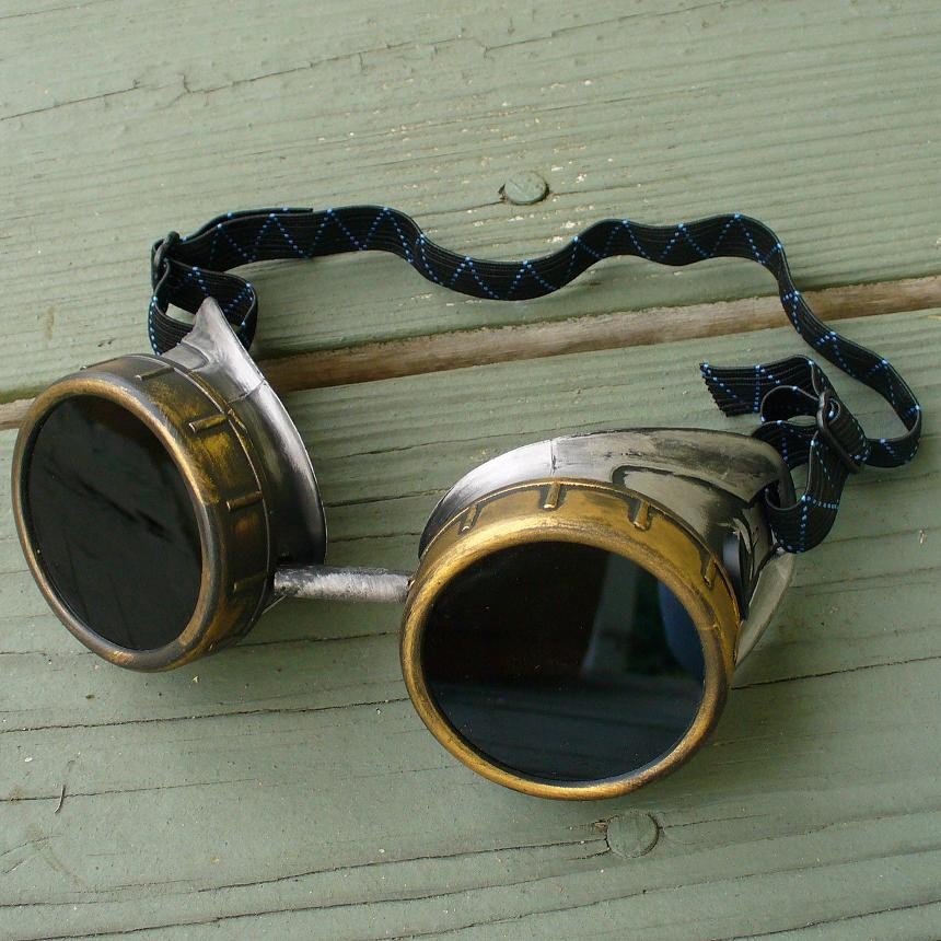 Gold & Silver Copper Toned Goggles: Black Lenses