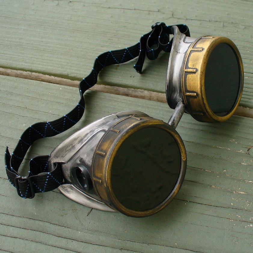Gold & Silver Copper Toned Goggles: Black Lenses