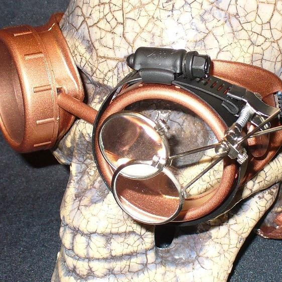 Copper Apocalypse Goggles: Clear Lenses w/ Eye Loupe