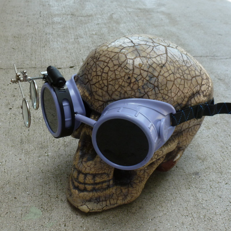 Maroon Apocalypse Goggles: Dark Lenses w/ Eye Loupe