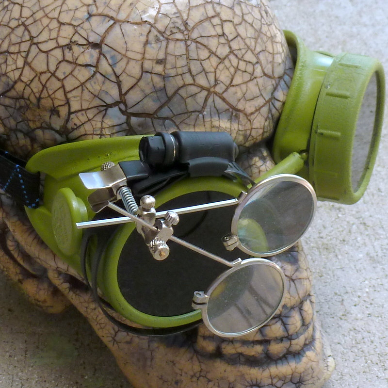 Green Apocalypse Goggles w/ Black Lenses & Eye Loupe