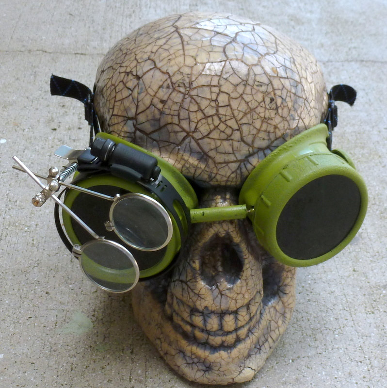Green Apocalypse Goggles w/ Black Lenses & Eye Loupe