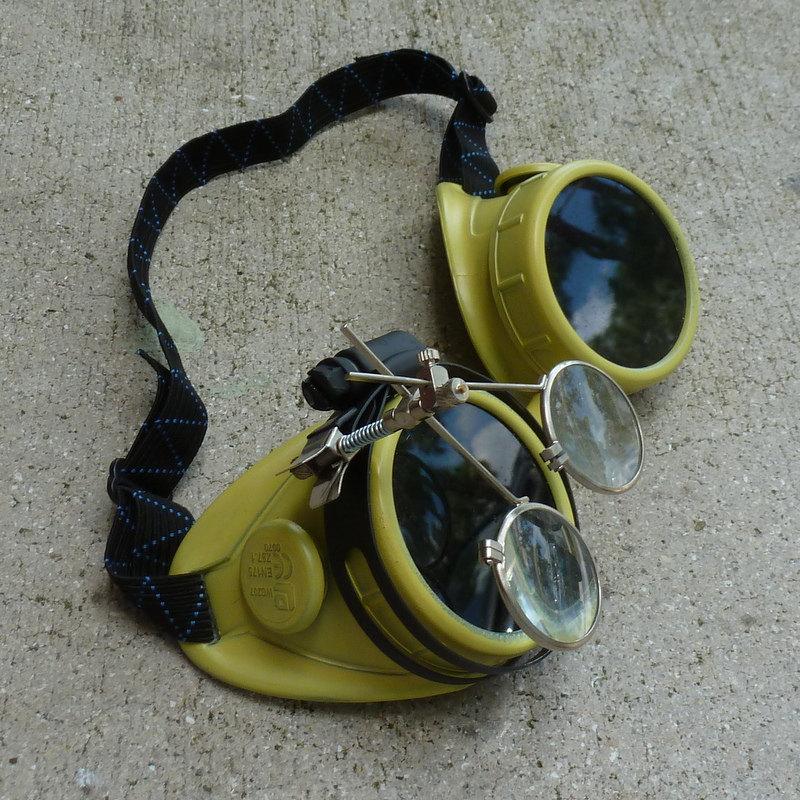 Yellow Apocalypse Goggles w/ Black Lenses & Eye Loupe