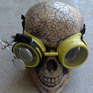 Yellow Apocalypse Goggles w/ Clear Lenses & Eye Loupe