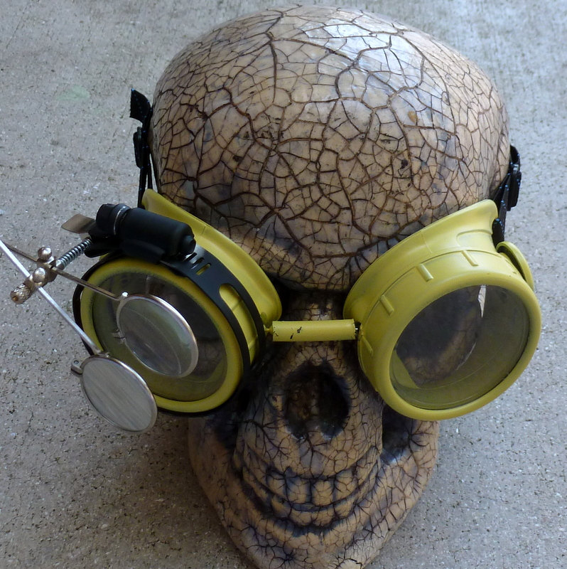 Yellow Apocalypse Goggles w/ Clear Lenses & Eye Loupe