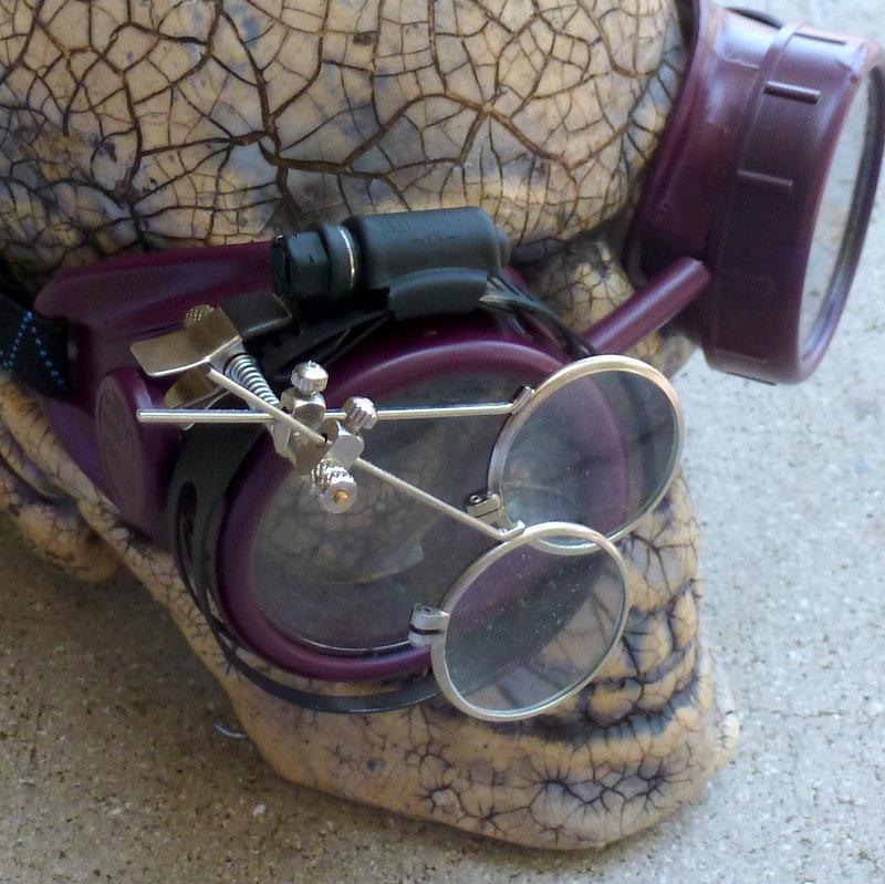 Maroon Apocalypse Goggles w/ Clear Lenses & Eye Loupe