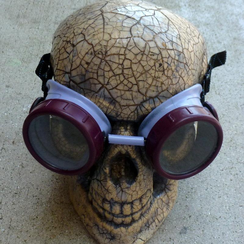 Maroon & Gray Apocalypse Goggles w/ Clear Lenses