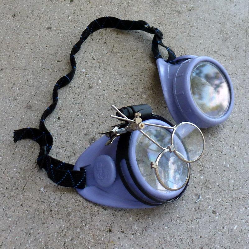 Blue Apocalypse Goggles w/ Clear Lenses & Eye Loupe