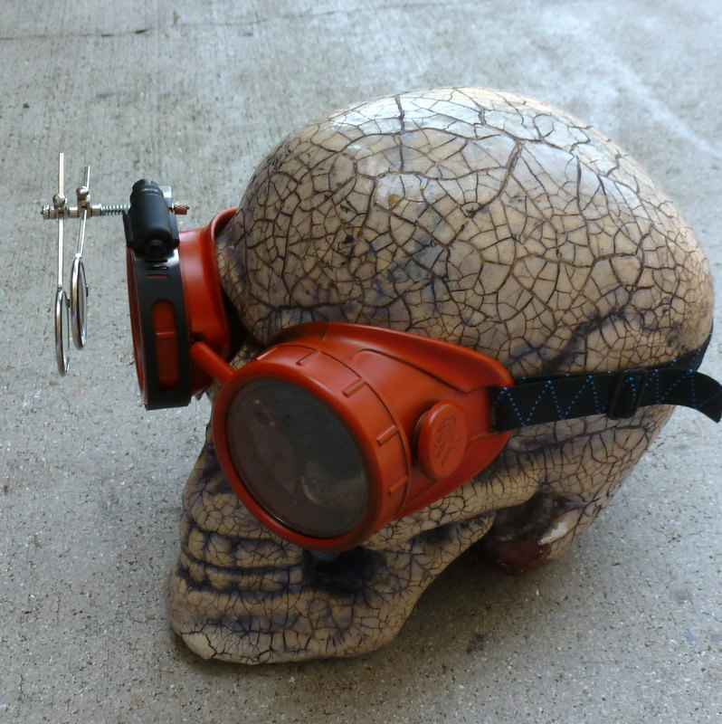 Red Apocalypse Goggles w/ Clear Lenses & Eye Loupe