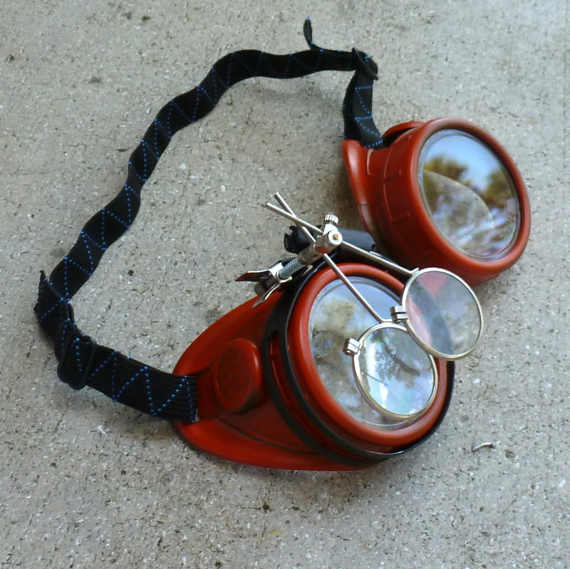 Red Apocalypse Goggles w/ Clear Lenses & Eye LoupeRed Apocalypse Goggles w/ Clear Lenses & Eye Loupe