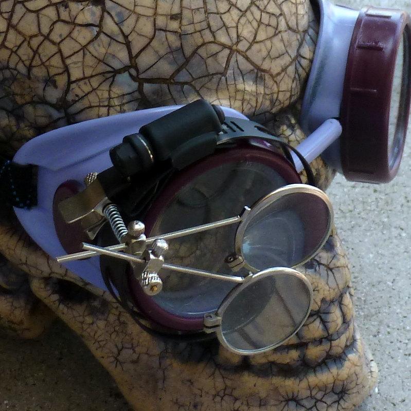 Maroon & Gray Apocalypse Goggles w/ Clear Lenses & Eye Loupe