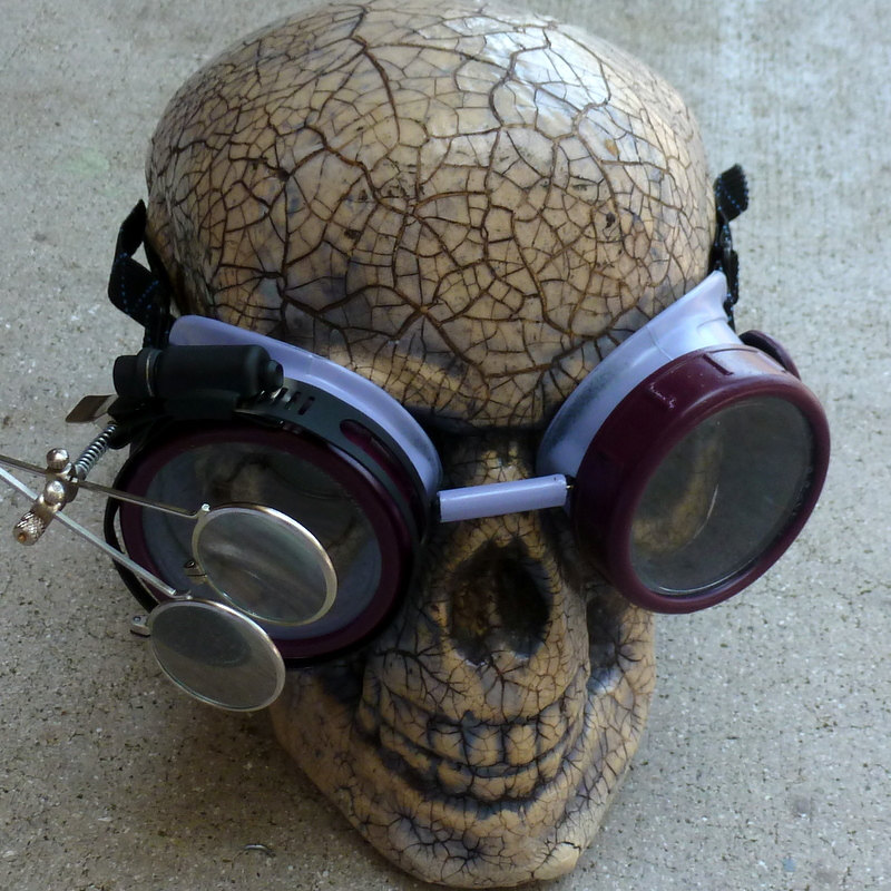 Maroon & Gray Apocalypse Goggles w/ Clear Lenses & Eye Loupe