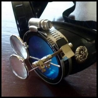 Black Goggles: Blue Lenses w/ Eye Loupe & Swirl Embellishments
