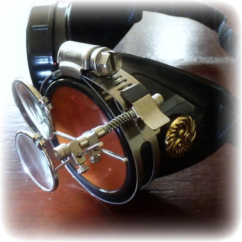 Black Goggles: Clear Lenses w/ Eye Loupe & Swirl Embellishments