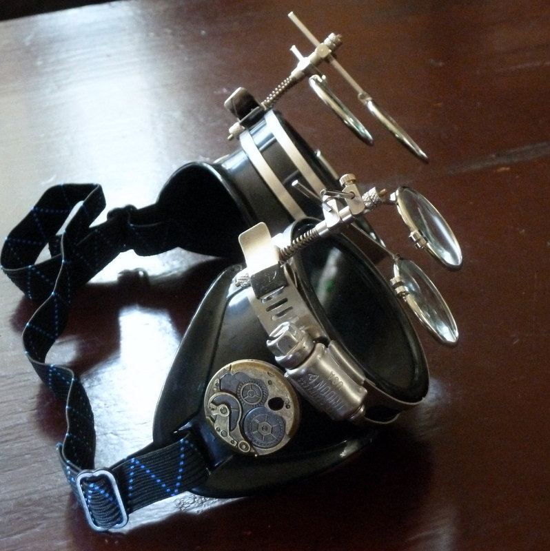 Black Goggles: Clear Lenses w/ Brass Watch Movement & Double Eye Loupes