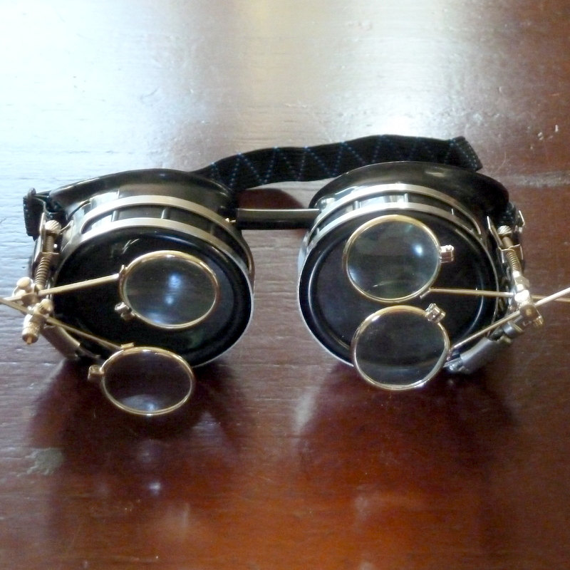 6408928621e Black Goggles  Clear Lenses w  Brass Watch Movement   Double Eye Loupes