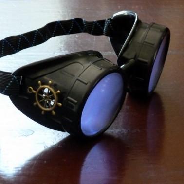 Black Goggles: Purple Lenses w/ Brass Ship's Wheel
