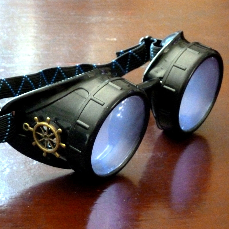 Black Goggles: Purple Lenses w/ Brass Ship's Wheel