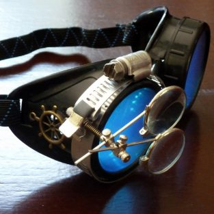 Black Goggles: Blue Lenses w/ Brass Ship's Wheel & Eye Loupe