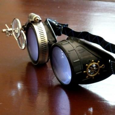 Black Goggles: Purple Lenses w/ Brass Ship's Wheel & Eye Loupe