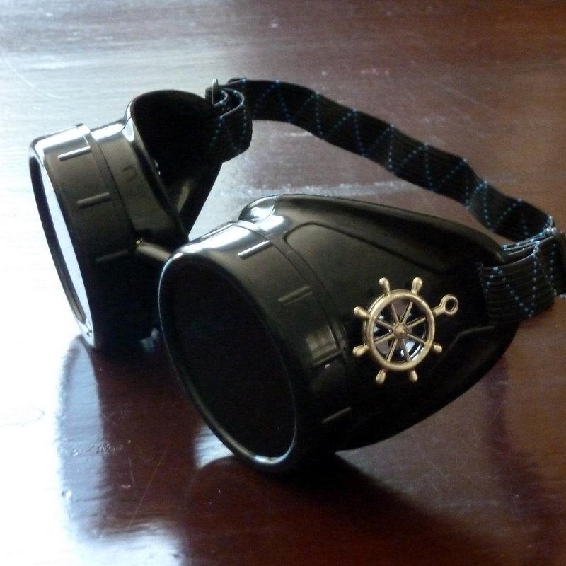 Black Goggles: Dark Lenses w/ Brass Ship's Wheel