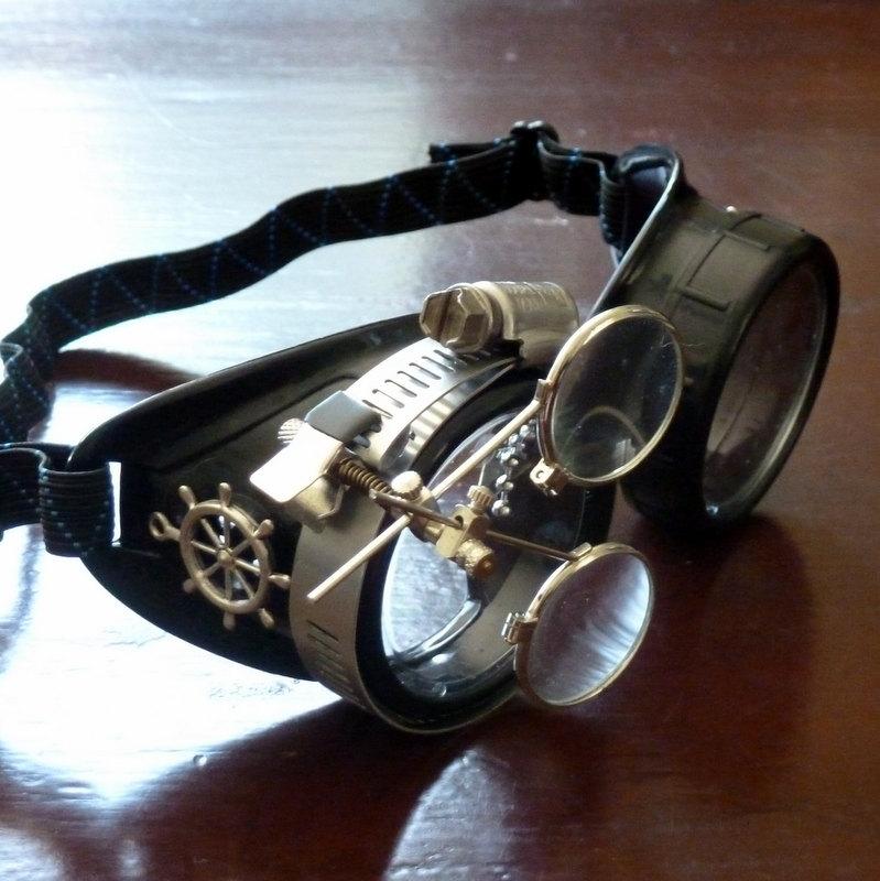 Black Goggles: Clear Lenses w/ Brass Ship's Wheel & Eye Loupe