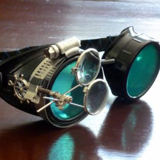 Black Goggles: Green Lenses w/ Brass Ship's Wheel & Eye Loupe