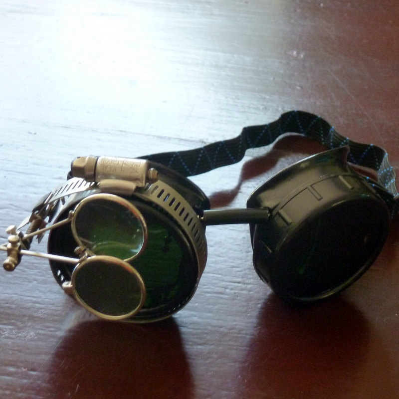 Black Goggles: Black Lenses w/ Brass Ship's Wheel & Eye Loupe