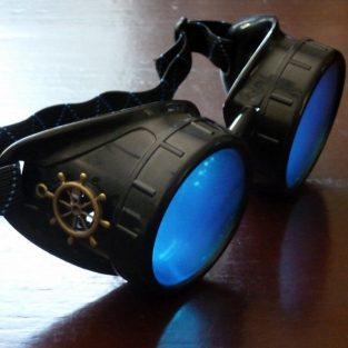 Black Goggles: Blue Lenses w/ Brass Ship's Wheel