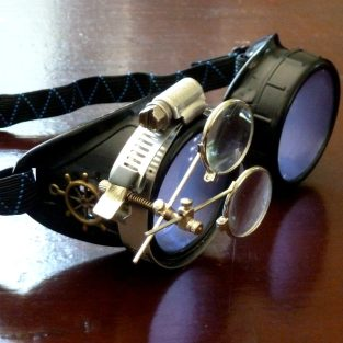 Black Goggles: Purple Lenses w/ Brass Ship's Wheel & Eye Loupe