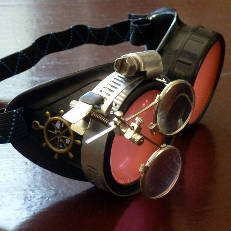 Black Goggles: Red Lenses w/ Brass Ship's Wheel & Eye Loupe