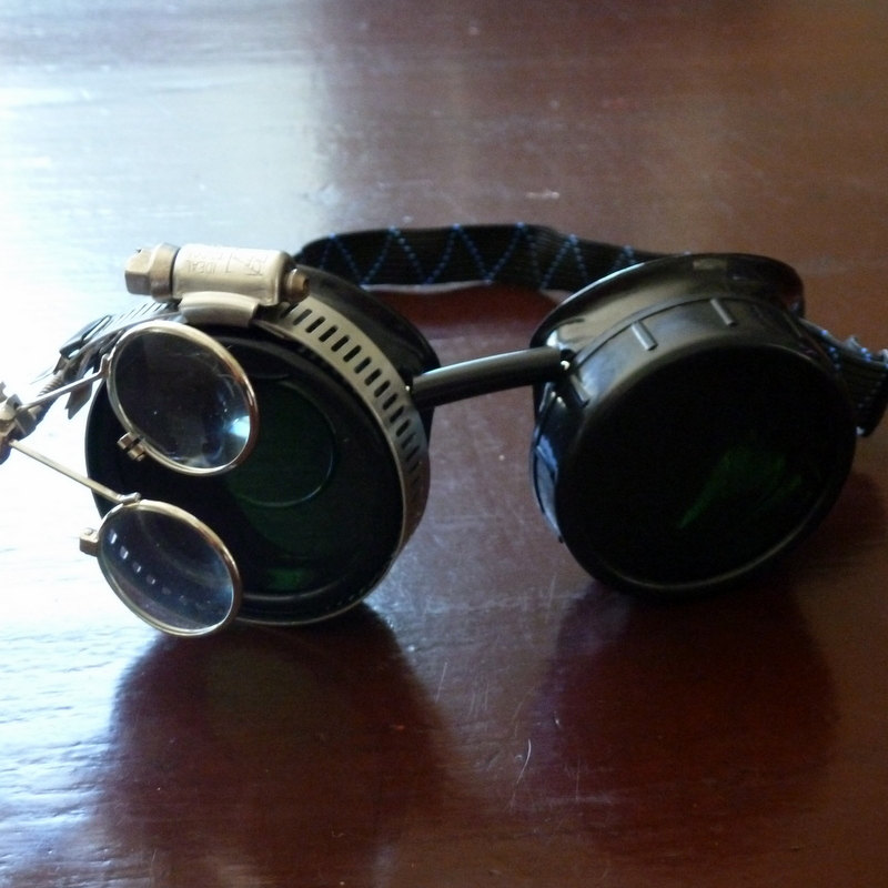 Black Goggles: Dark Lenses w/ Brass Ship's Wheel & Eye Loupe