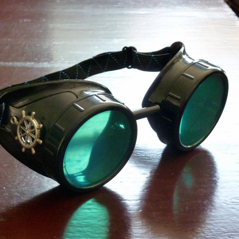 Black Goggles: Aqua Green Lenses w/ Brass Ship's Wheel