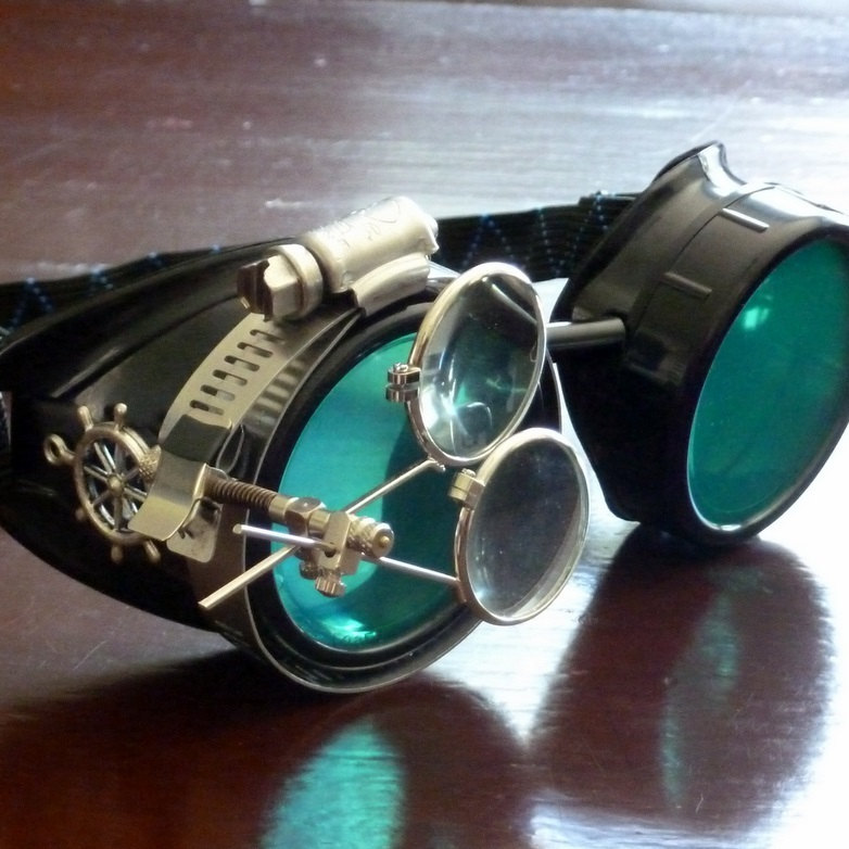 Black Goggles: Green Lenses w/ Brass Ship's Wheel & Eye Loupe