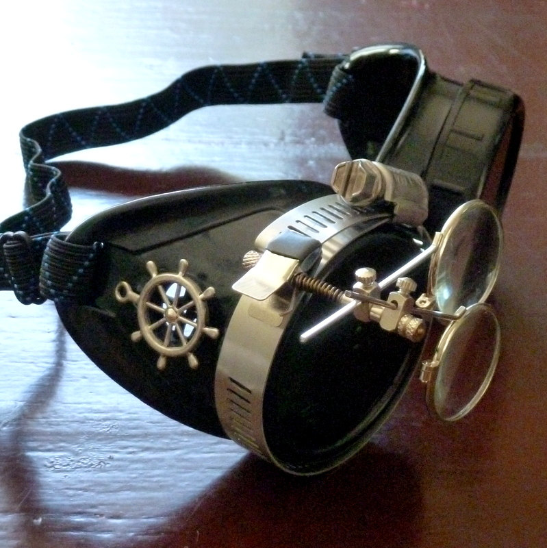 Black Goggles: Black Lenses w/ Brass Ship's Wheel & Eye Loupe