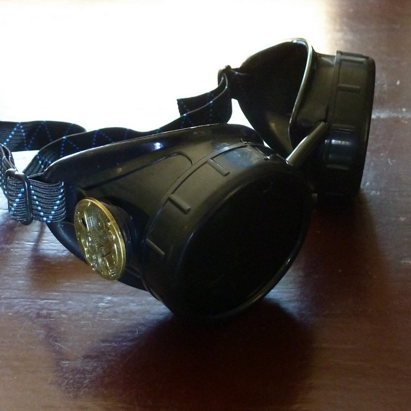Black Goggles: Dark Lenes w/ Brass Watch Movement