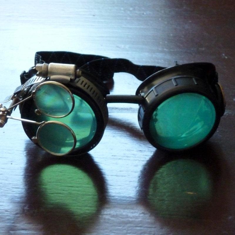 Black Goggles: Green Lenses w/ Eye Loupe & Brass Watch Movement