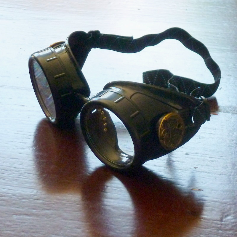 Black Goggles: Clear Lenses w/ Brass Watch Movement Ornament