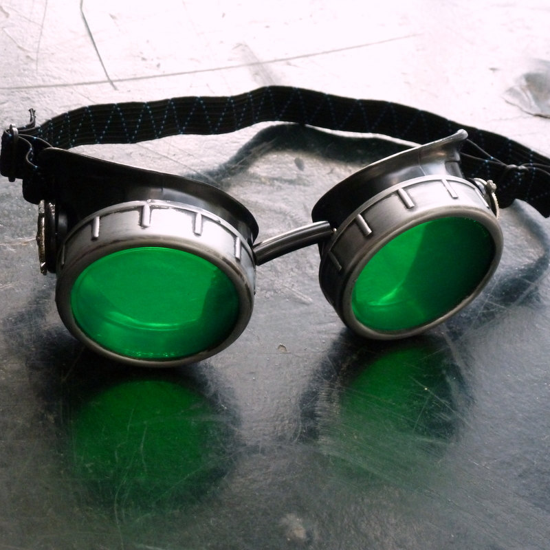 Black & Sliver Goggles: Green Lenses w/ Nickel Compass Rose