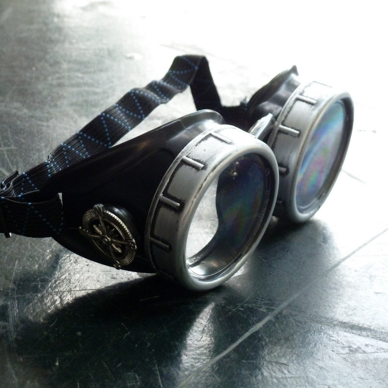 Silver & Black Goggles: Clear Lenses w/ Nickel Compass Rose