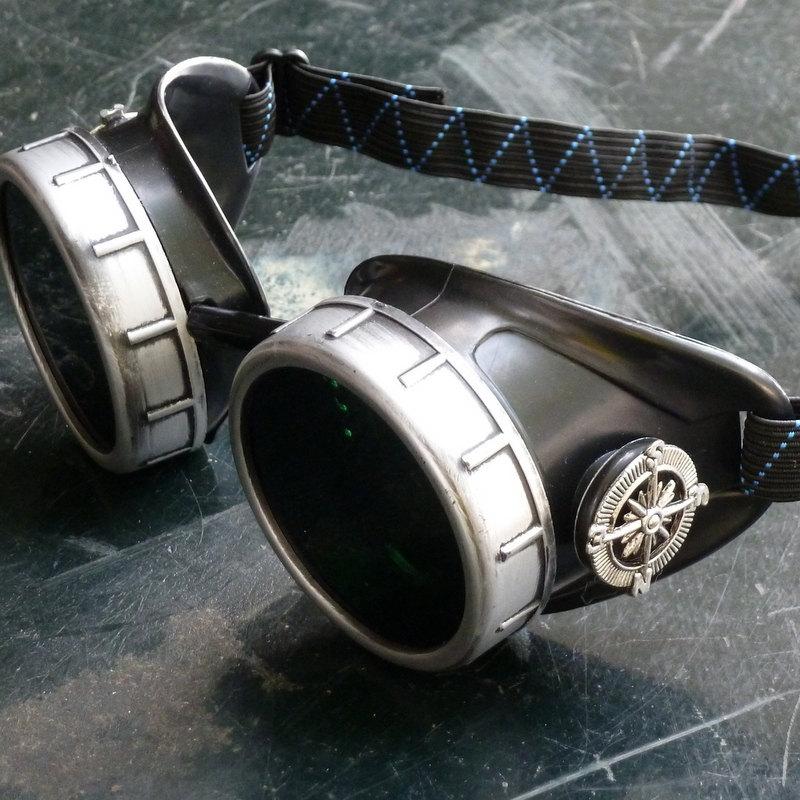 Black & Silver Goggles: Black Lenses w/ Nickel Compass Rose