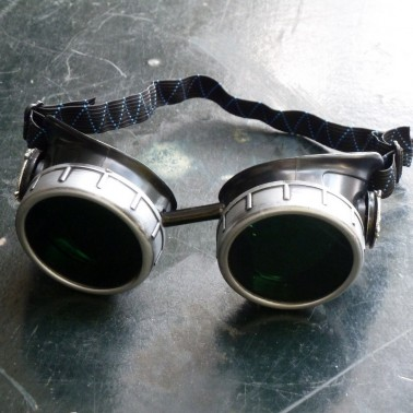 Black & Silver Goggles: Black Lenses w/ Nickel Compass Rose