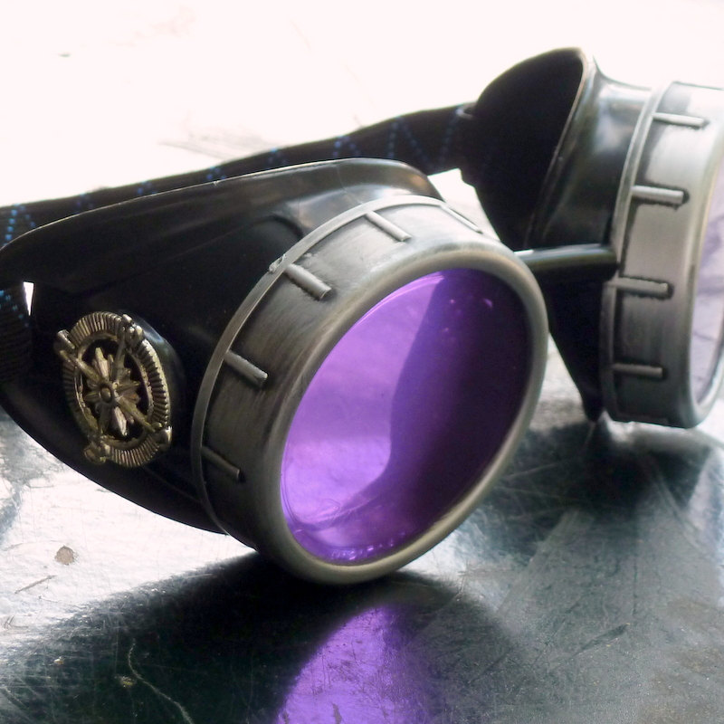 Black & Silver Goggles: Purple Lenses w/ Nickel Compass Rose