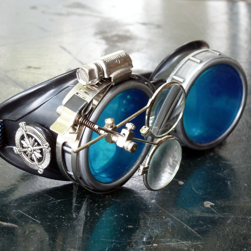 Black and Silver Goggles: Blue Lenses w/ Nickel Compass Rose & Eye Loupe