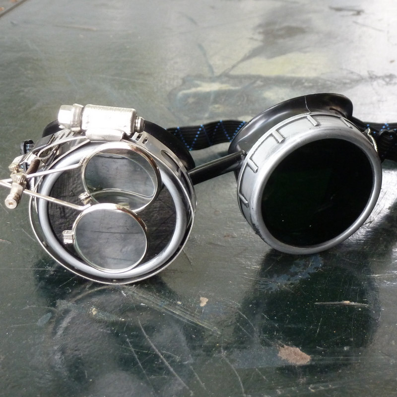Silver & Black Goggles: Clear Lenses w/ Nickel Compass Rose & Eye Loupe