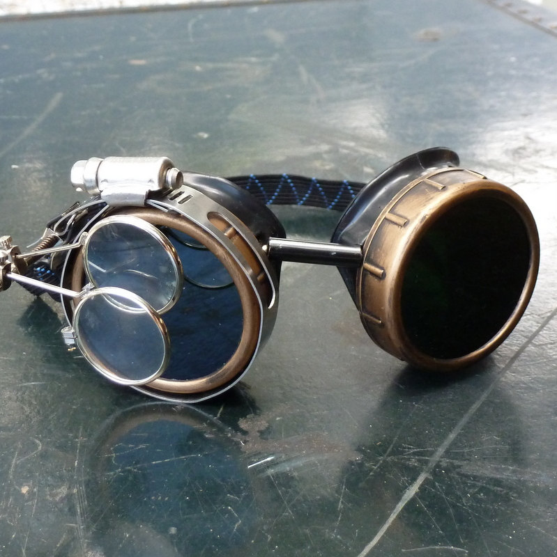 Silver & Black Goggles: Black Lenses w/ Nickel Compass Rose & Eye Loupe