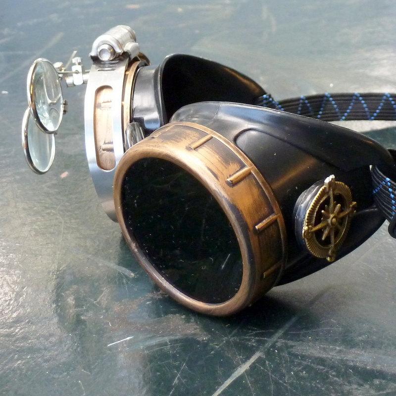 Bronze & Black Goggles: Black Lenses w/ Brass Ship's Wheel & Eye Loupe