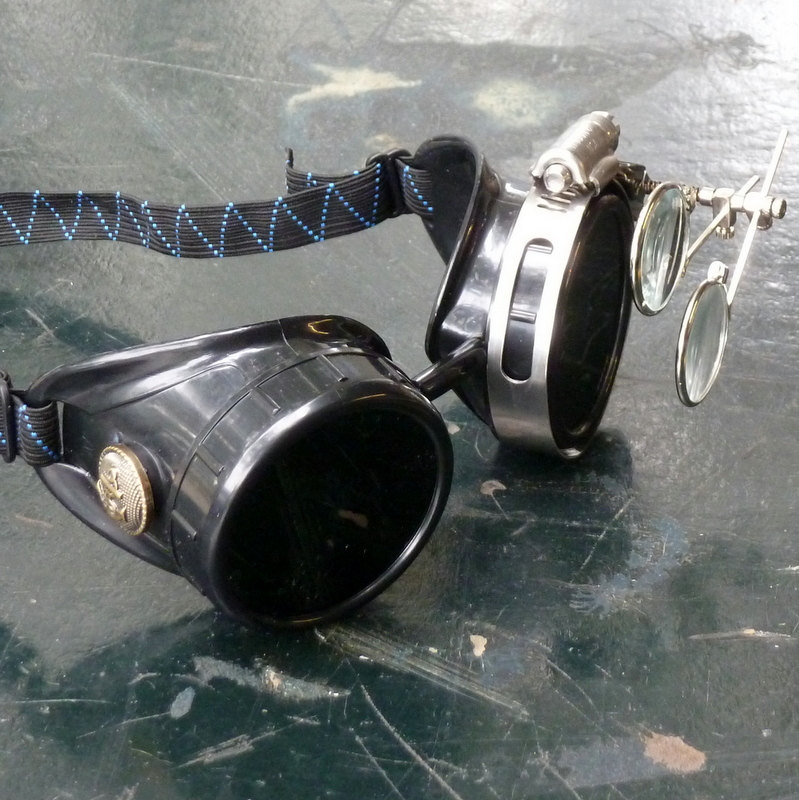 Black Goggles: Dark Lenses w/ Brass Anchors & Eye Loupe